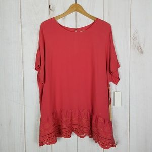 Gibson Latimer | Boho Career Coral Blouse - XL